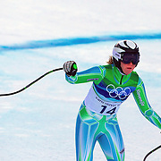Winter Olympics, Vancouver, 2010.Marusa Ferk, Slovenia,  in action in the Alpine Skiing Ladies Super Combined  during competition at Whistler Creekside, Whistler, during the Vancouver Winter Olympics. 18th February 2010. Photo Tim Clayton