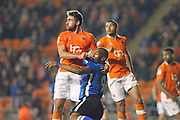 Calvin Andrew is fouled during the EFL Sky Bet League 1 match between Blackpool and Rochdale at Bloomfield Road, Blackpool, England on 26 September 2017. Photo by Daniel Youngs.