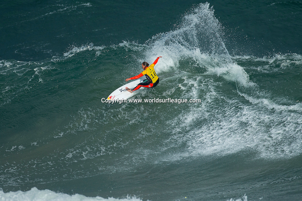 Carissa Moore of Oahu, Hawaii (pictured) won her Round 1 heat at the Rip Curl Pro Bells Beach posting a near perfect 9.00 and 8.97 (out of a possible 10.00 points) to advanced into Round 3 on Thursday April 2, 2015.