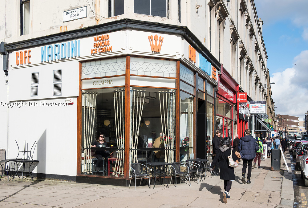 Exterior view of Cafe Nardini ice cream cafe on Byres Road in Glasgow West End , Scotland, United Kingdom