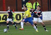 Greenock Morton's David Graham and Dundee's Nicky Riley  - Dundee v Greenock Morton, William Hill Scottish Cup 5th Round at Dens Park .. - © David Young - www.davidyoungphoto.co.uk - email: davidyoungphoto@gmail.com