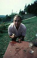 Paul Bocuse playing mumbley peg at home near Lyon