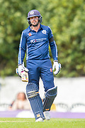 Scotland's Calum MacLeod takes in making his century during the One Day International match between Scotland and Afghanistan at The Grange Cricket Club, Edinburgh, Scotland on 10 May 2019.