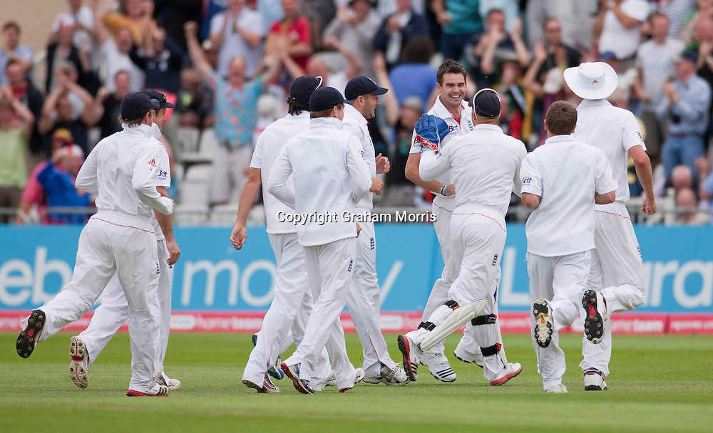 Bowler James Anderson (facing) celebrates having Abhinav Mukund caught first ball during the second npower Test Match between England and India at Trent Bridge, Nottingham.  Photo: Graham Morris (Tel: +44(0)20 8969 4192 Email: sales@cricketpix.com) 29/07/11