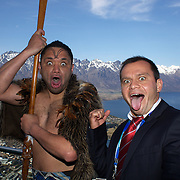 Georgia captain Irakli Abuseridze poses for photographs with Maori performer Gareth Johnson with The Remarkables mountain range providing a stunning backdrop during the Georgia Rugby Teams official Civic welcome and cap presentation at Skyline.  Queenstown, New Zealand, 6th September 2011. Photo Tim Clayton..