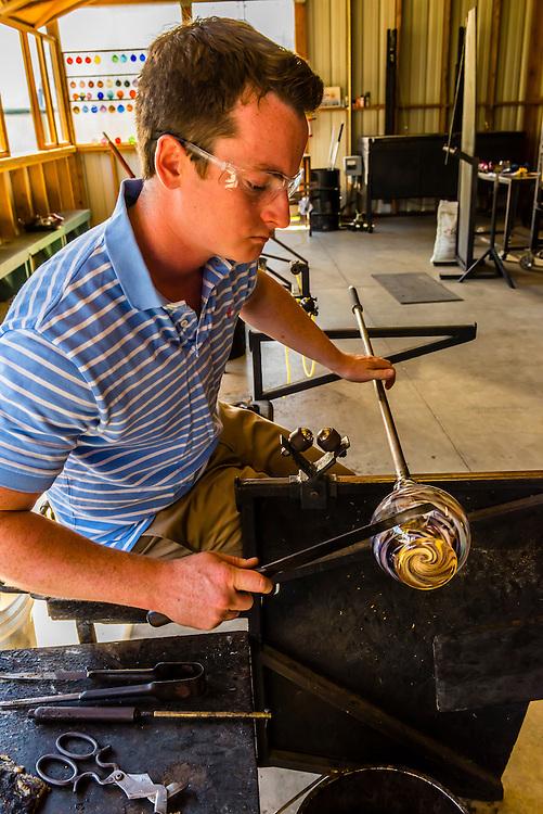 Glassblowing, Garden City Glass at Jewell Gardens, Skagway, Alaska USA.