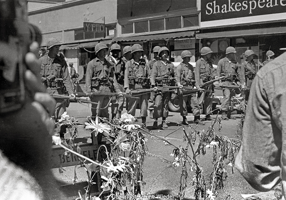 For 2 weeks the streets were baracaded with rolls of barbed wire when US National guard took over the town during Peoples Park Student protest & riots in Berkeley California 1969