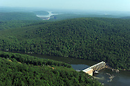 Falls Dam including view of Narrows (Badin) Dam in the far background