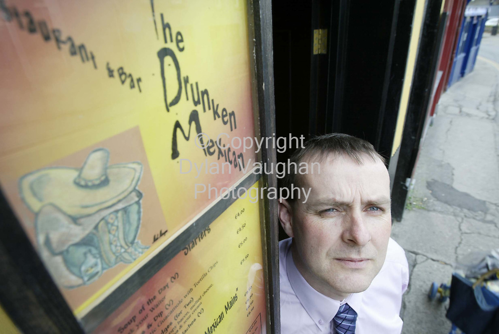 16/10/2002 Irish times.Michael O Connor pictured outside The Drunken Mexican on Parliment street in Kilkenny..Picture Dylan Vaughan.