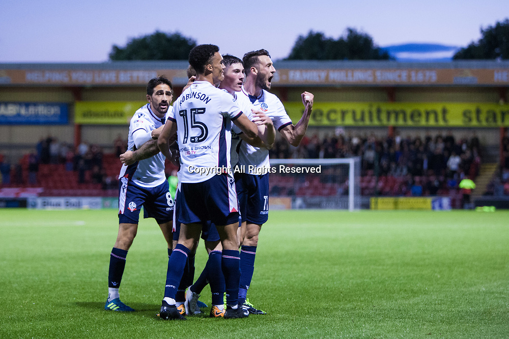 August 9th 2017, Gresty Road, Crewe, England; Carabao Cup First Round; Crewe Alexandra versus Bolton; Bolton Wanderers' Will Buckley celebrates a Bolton goal as he heads for the fans