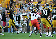 08 SEPTEMBER 2007: Iowa wide receiver Andy Brodell (80) drops a pass as he is hit by Syracuse safety A.J. Brown (17) in Iowa's 35-0 win over Syracuse at Kinnick Stadium in Iowa City, Iowa on September 8, 2007.
