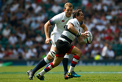 Rhodri Williams of Barbarians is marked by Kyle Sinckler of England - Mandatory by-line: Ryan Hiscott/JMP - 27/05/2018 - RUGBY - Twickenham Stadium - London, England - England v Barbarians - Quilter Cup