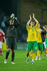COPENHAGEN, DENMARK - Wednesday, November 19, 2008: Wales' goalkeeper Boaz Myhill and Sam Ricketts after their side's 1-0 victory over Denmark during the international friendly match at the Brøndby Stadium. (Photo by David Rawcliffe/Propaganda)
