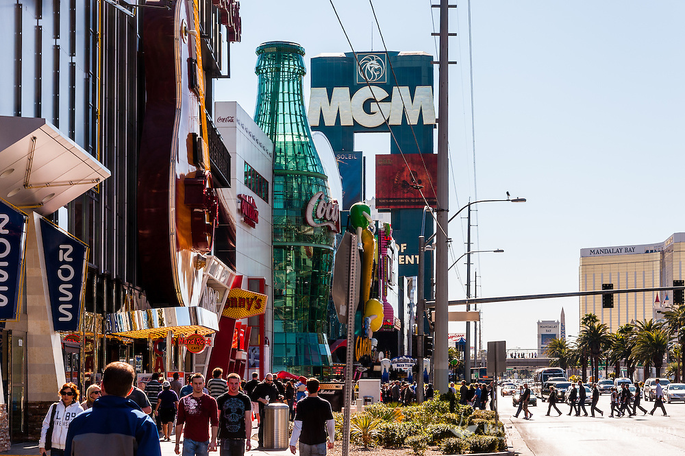 United States, Nevada,  Las Vegas Strip, with a huge Coca Cola bottle.