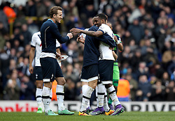Danny Rose of Tottenham Hotspur celebrates the victory over Swansea City with Harry Kane and Heung-Min Son - Mandatory byline: Robbie Stephenson/JMP - 28/02/2016 - FOOTBALL - White Hart Lane - Tottenham, England - Tottenham Hotspur v Swansea City - Barclays Premier League