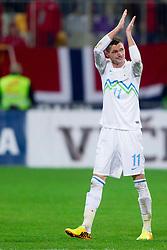 Milivoje Novakovic of Slovenia during the FIFA World Cup 2014 Group E qualification match between Slovenia and Norway on October 11, 2013 in Stadium Ljudski vrt, Maribor, Slovenia. (Photo by Urban Urbanc / Sportida)