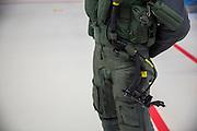 N&ouml;rvenich | Deutschland | 21.03.2016: Besuch vom [BK Angela Merkel] beim Taktischen Luftwaffengeschwader 31 Boelke auf dem Fliegerhorst in N&ouml;rvenich bei K&ouml;ln.<br /> <br /> hier: Kampfflugzeuge vom Typ Eurofighter Typhoon sind in einem Hangar f&uuml;r die Besichtigung durch die BK aufgestellt. Anti-G Hose.<br /> <br /> 20160321<br /> <br /> <br /> [Inhaltsveraendernde Manipulation des Fotos nur nach ausdruecklicher Genehmigung des Fotografen. Vereinbarungen ueber Abtretung von Persoenlichkeitsrechten/Model Release der abgebildeten Person/Personen liegt/liegen nicht vor.] [No Model Release | No Property Release]