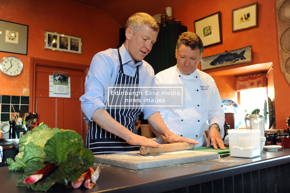 WILLIE RENNIE, UPPER LARGO, 19-4-2016<br /> <br /> Willie Rennie visited Fife food Ambassador, Christopher Trotter where he made a rhubarb tart at Buckthorns House, Upper Largo<br /> <br /> (c) David Wardle | Edinburgh Elite media