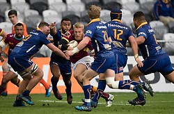 Southland's James Schrader, centre, manages to evade 5 Otago tacklers to score a try in the Mitre 10 Cup rugby match, Forsyth Barr Stadium, Dunedin, New Zealand, Sunday, October 14 2017.  Credit:SNPA / Adam Binns ** NO ARCHIVING**