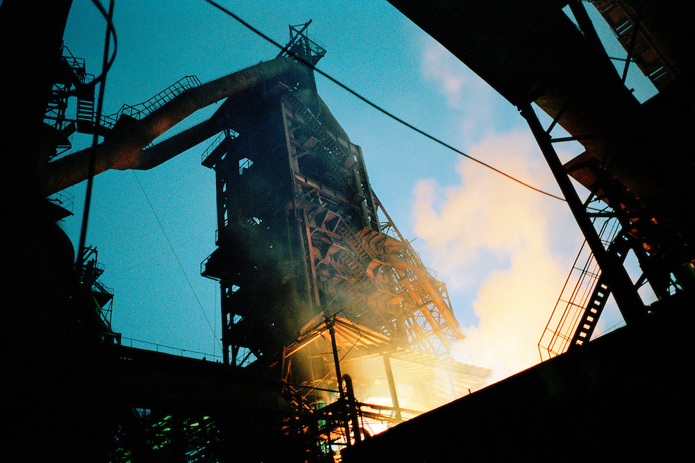 Steel plant. China uses a third of the world's supply of steel and is also the largest producer in the world. It is also the world's largest producer of sulphur dioxide which is a major component of acid rain that comes from the burning of coal in the makng of steel. Jilin, China. 2006