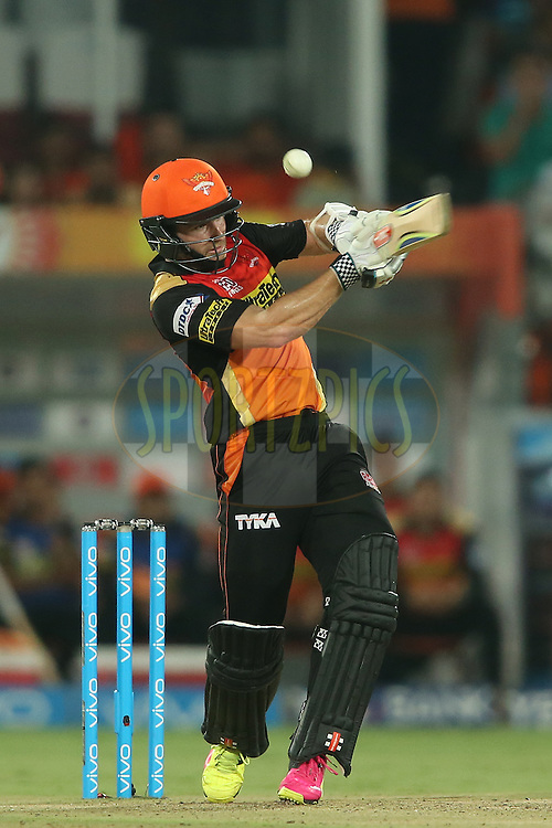 Kane Williamson of Sunrisers Hyderabad top edges a delivery to the boundary during match 42 of the Vivo IPL 2016 (Indian Premier League) between the Sunrisers Hyderabad and the Delhi Daredevils held at the Rajiv Gandhi Intl. Cricket Stadium, Hyderabad on the 12th May 2016<br /> <br /> Photo by Shaun Roy / IPL/ SPORTZPICS