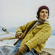 Avalon wasn't the easiest boat to sail in the erratic wind conditions that are so prevalent in Southeast Alaska; there could be sudden gusts that knocked her right over on her side, and prompted much panic  to steer her back into the wind. I'm wearing my favourite hat and Woolrich coat from the Salvation Army charity shop in Petersburg, which was an endless source of useful items, and probably had the richest pickings of any charity shop that I have used regularly used.