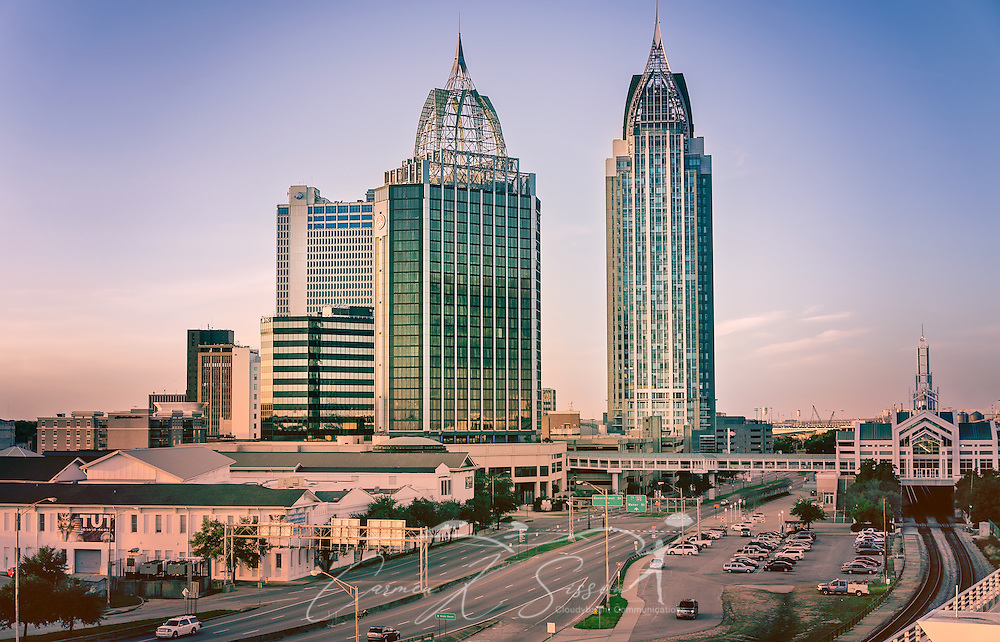 The Renaissance Mobile Riverview Plaza and the Battle House Renaissance Mobile Hotel and Spa are pictured, November 27, 2015, in Mobile, Alabama. The Riverview Plaza, erected in 1983, is 374 feet tall and is the tallest hotel in Alabama. It was designed by TAG Architects. The Battle House, also known as the Battle House Tower, was erected in 2006. It is the tallest building in Alabama, standing at a towering 745 feet. (Photo by Carmen K. Sisson/Cloudybright)
