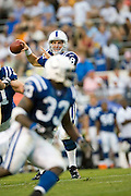 JACKSON, MS - AUGUST 26:  Quarterback Peyton Manning of the Indianapolis Colts looks to throw a pass to running back Dominic Rhodes during a game against the New Orleans Saints on August 26, 2006 at Veterans Memorial Stadium in Jackson, Mississippi.  The Colts won 27 to 14.  (Photo by Wesley Hitt/Getty Images) *** Local Caption *** Peyton Manning
