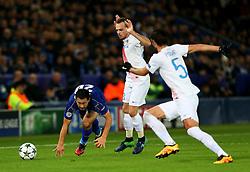 Riyad Mahrez of Leicester City challenges Benoit Poulain of Club Brugge - Mandatory by-line: Matt McNulty/JMP - 22/11/2016 - FOOTBALL - King Power Stadium - Leicester, England - Leicester City v Club Brugge - UEFA Champions League