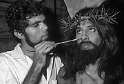 The actor playing the role of Christ having his make-up done for the Passion Play.<br />