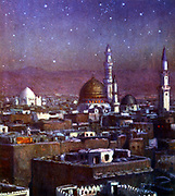 View of Medina by moonlight, showing the Dome of the Tomb of the Prophet. Illustration by Etienne Dinet (1861-1929) for 'La Vie de Mohammed,  Prophete d'Allah' (The Life of Mohammed, Prophet of Allah).
