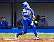 Hampton University Junior Rebecca Magett smacks the first home run of their new stadium during the second game of  Hampton's doubleheader split against Morgan State at the Lady Pirates Softball Complex on the campus of Hampton University in Hampton, Virginia.  (Photo by Mark W. Sutton)