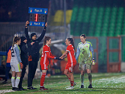 CESENA, ITALY - Tuesday, January 22, 2019: Wales' Natasha Harding is replaced by substitute Gwennan Davies during the International Friendly between Italy and Wales at the Stadio Dino Manuzzi. (Pic by David Rawcliffe/Propaganda)