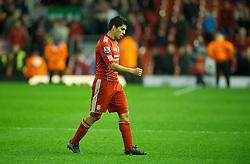 05.11.2011, Anfield Stadion, Liverpool, ENG, Premier League, FC Liverpool vs Swansea City, im Bild Liverpool's Luis Alberto Suarez Diaz walks off dejected after the goal-less draw against Swansea City  // during the premier league match between FC Liverpool vs Swansea City at Anfield Stadium, Liverpool, EnG on 05/11/2011. EXPA Pictures © 2011, PhotoCredit: EXPA/ Propaganda Photo/ David Rawcliff +++++ ATTENTION - OUT OF ENGLAND/GBR+++++