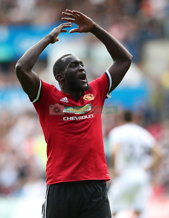 Manchester United's Romelu Lukaku celebrates his side's fourth goal during the Premier League match at the Liberty Stadium, Swansea.