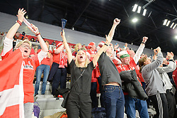 Fans of Denmark celebrates after handball match between National teams of Denmark and Hungary on Day 2 in Preliminary Round of Men's EHF EURO 2018, on Januar 13, 2018 in Skolsko Sportska Dvorana, Varazdin, Croatia. Photo by Mario Horvat / Sportida