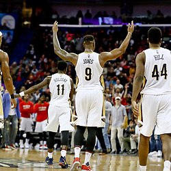 Jan 23, 2017; New Orleans, LA, USA; New Orleans Pelicans forward Terrence Jones (9) reacts to the crowd during the fourth quarter of a game against the Cleveland Cavaliers at the Smoothie King Center. The Pelicans defeated the Cavaliers 124-122. Mandatory Credit: Derick E. Hingle-USA TODAY Sports