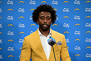Mar t5, 2019; Costa Mesa, CA, USA; Los Angeles Chargers quarterback Tyrod Taylor is introduced at a press conference at the Hoag Performance Center.