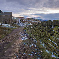 The abandoned farm house at the foot of Lower Knoll, Marsden Moor Estate, Saddleworth, Greater Manchester.