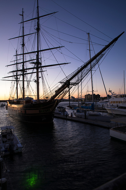 Impressive sailing ship Oliver Hazard Perry with traditional rigging moored in harbor at Newport, Rhode Island, USA
