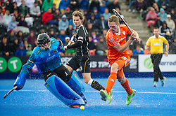 The Netherlands Mirco Pruyser lines up to take a shot as Nicolas Jacobi closes him down in the German goal. The Netherlands v Germany - Final Unibet EuroHockey Championships, Lee Valley Hockey & Tennis Centre, London, UK on 29 August 2015. Photo: Simon Parker
