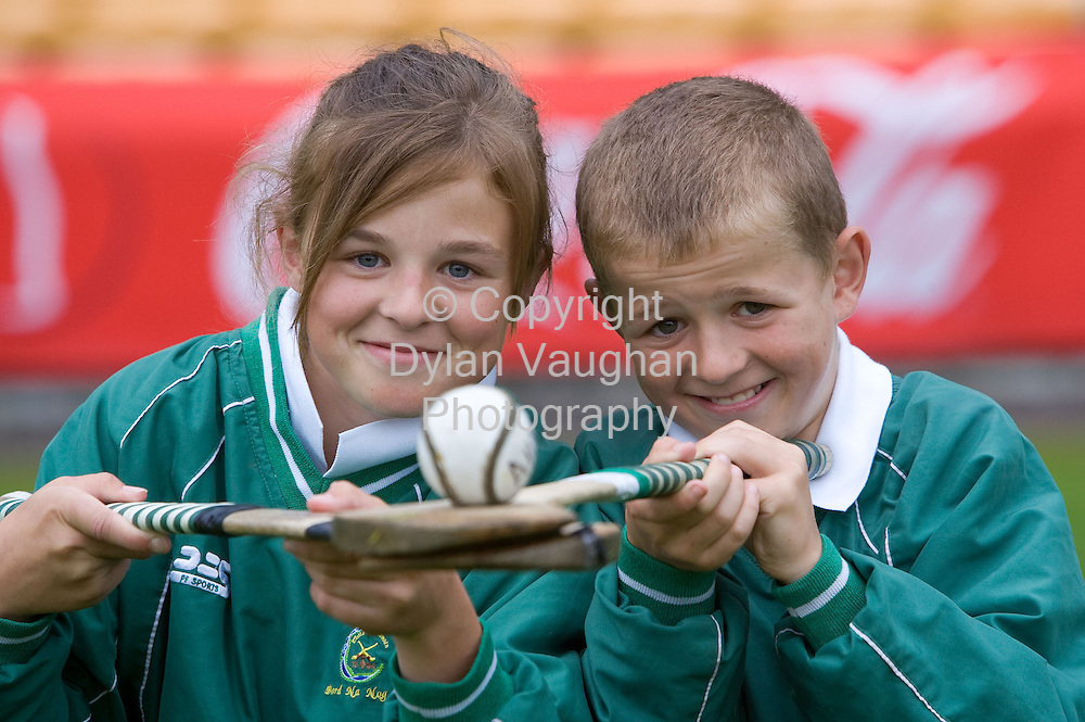 17/6/2007.free picture no charge for use.A Family Affair! ..Grace Walsh (14)  & Shane Walsh (11) brother and sister of Kilkenny hurling All-Star Tommy Walsh were two of the 3,500 boys and girls under 14 in Kilkenny this weekend to take part in the 37th Féile na nGael Finals...Picturer Dylan Vaughan.
