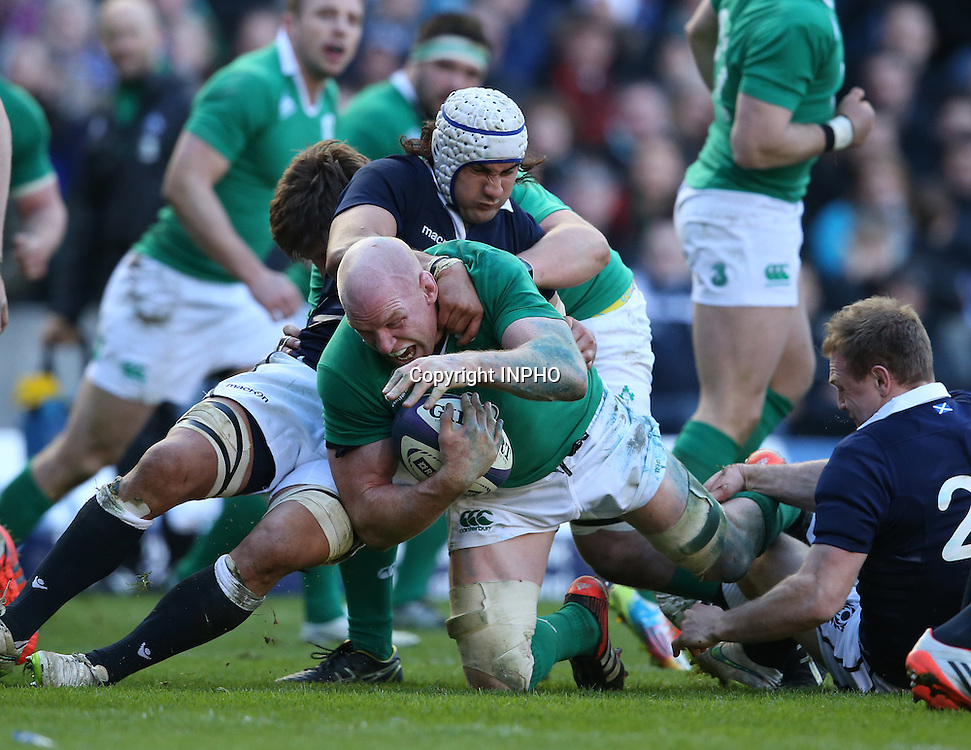 RBS 6 Nations Championship, BT Murrayfield, Edinburgh, Scotland 21/3/2015<br /> Scotland vs Ireland<br /> Ireland&rsquo;s Paul O'Connell is tackled by Scotland's Blair Cowan<br /> Mandatory Credit &copy;INPHO/Billy Stickland