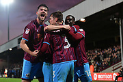 Scunthorpe United celebrate goal scored by Scunthorpe United defender Conor Townsend (3) to go 2-1  during the EFL Sky Bet League 1 match between Scunthorpe United and Southend United at Glanford Park, Scunthorpe, England on 23 December 2017. Photo by Ian Lyall.