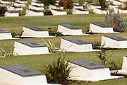 Graves of fallen Commonwealth servicemen during the Remembrance Day ceremonies at the Commonwealth War Cemetery in Hodogaya, Yokohama, Japan. Wednesday November 11th 2015