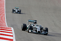 HAMILTON Lewis (Gbr) Mercedes Gp Mgp W05 action ROSBERG Nico (Ger) Mercedes Gp Mgp W05 action   during the 2014 Formula One World Championship, United States of America Grand Prix from November 1st to 2nd 2014 in Austin, Texas, USA. Photo Frederic Le Floch / DPPI.