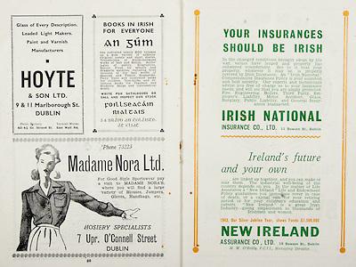 All Ireland Senior Hurling Championship Final, .Brochures,.05.09.1943, 09.05.1943, 5th September 1943, .Antrim 0-4, Cork 5-16,.Minor Dublin v Kilkenny, .Senior Antrim v Cork, .Croke Park, ..Advertisements, Hoyte & Son LTD., Foillseacain Rialtais Books in Irish for Everyone, Madame Nora Ltd. Hosiery Specialists, Irish National Insurance Co. Ltd., New Ireland Assurance Co. Ltd.,