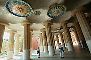 Parc Guell by Antoni Gaudi. Sala Hipostila (forest of columns).