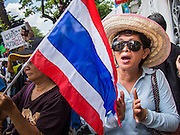 03 SEPTEMBER 2013 - BANGKOK, THAILAND: Protesters with the Thai flag picket the front of Government House, which contains the office on the Prime Minister, in Bangkok. The Thai government raised the price of Liquified Propane Gas (LPG - cooking gas) by 50 satang per kilogram (about 1.5 cents US) over the weekend. The price of electricity and highway tolls also went up on the same day dealing most Thais a triple blow. The Thai consumers foundation has filed a suit in Thai administrative courts to block the increase but the courts have not yet ruled on the case. About 50 people protested the price hike at Government House in Bangkok and delivered a letter outlining their objections to a representative of the Prime Minister.     PHOTO BY JACK KURTZ