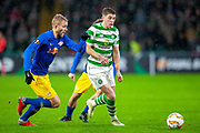 Ryan Christie (#17) of Celtic FC and Konrad Laimer (#27) of RB Leipzig during the Europa League group stage match between Celtic and RP Leipzig at Celtic Park, Glasgow, Scotland on 8 November 2018.
